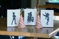Peter Pan Party: siloutes in frames & teepees, decorations