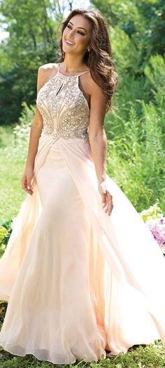 Beading A-line Spaghetti Straps 2015 Chiffon Prom Dress