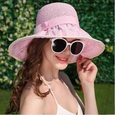 Splicing straw hat with bow for women wide brim sun hats UV protection 72f005a7d1c6