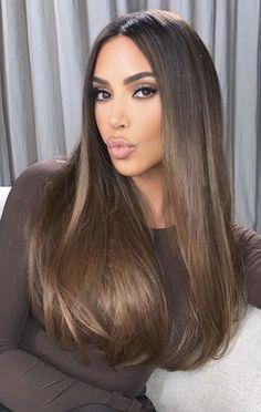 Cool Tone Brown Hair, Honey Brown Hair, Light Brown Hair, Light Hair, Hair Color For Black Hair, Dark Brown Lob, Balayage Straight Hair, Brown Straight Hair, Kim Kardashian Long Hair
