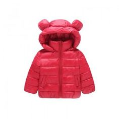 Lovely Ear Hooded Zip-up Coat for Baby and Toddler