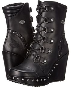 These are cute! Harley-Davidson Sandra. Strike up your style with the Harley-Davidson Sandra boot! ; Full grain leather upper. ; Silver-tone studs along shaft and midsole. ; Lace-up design with sturdy D-ring metal hardware for a secure fit. #affiliate #harleydavidsonboots