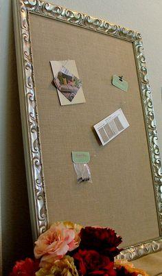 Cork Board Ornate Shabby Chic 30 x 42 Burlap Memo by PinwheelFair, $220.00