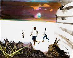 "Painting ""Polar Running"" by the Danish artist John Kørner, 120 x 150 cm. People Like, Danish, Denmark, Watercolor Paintings, Scandinavian, Contemporary Art, Running, Canvas, Artist"