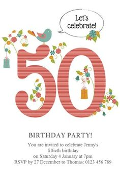 """Womens 50th Elegant Birthday"" printable invitation template. Customize, add text and photos. Print or download for free!"