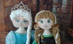 Cloth dolls Anna e Elsa de Arendelle  Boneca de pano Anna e Elsa Frozen