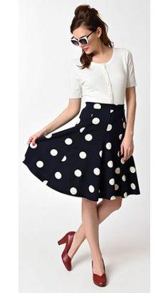 Vintage Style Navy Blue & Ivory Polka Dot Flare Skirt
