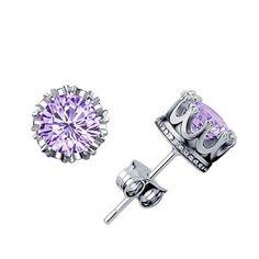Wholesale Sliver Prata Fashion Jewelry 6MM Round 2 Carat Purple Cubic Zirconia Silver Stud Earrings for Women Girl