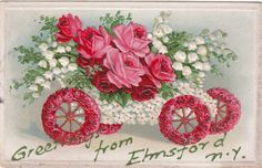 Greetings from Elmsford NY Roses Wheels Car Vintage Postcard 1910   eBay