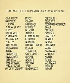 terms most useful in describing creative works of art