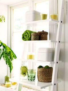 Inspiration. Shelving and spa water.