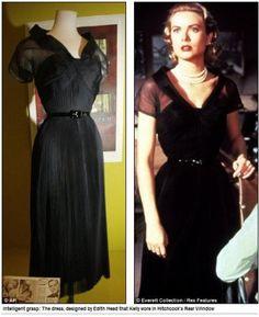 Grace Kelly in Rear Window, 1954 - little black dress by Edith Head Grace Kelly Dresses, Grace Kelly Style, Grace Kelly Fashion, Helen Rose, Katharine Hepburn, 1950s Fashion, Vintage Fashion, Film Fashion, Lauren Bacall