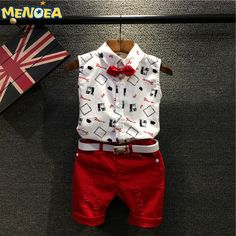 $13.20 (Buy here: https://alitems.com/g/1e8d114494ebda23ff8b16525dc3e8/?i=5&ulp=https%3A%2F%2Fwww.aliexpress.com%2Fitem%2F2016-Brand-New-Summer-Fashion-Style-Kids-Clothing-Sets-Boys-Clothing-Sets-Sleeveless-Shirt-Red-Pants%2F32674210261.html ) 2016 Brand New Summer  Fashion Style Kids Clothing Sets Boys Clothing Sets Sleeveless Shirt+Red Pants+Belt 3Pcs for Boys Clothes for just $13.20