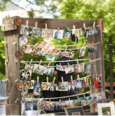 Cute idea for everyone to bring a picture with the birthday boy in the photo.  Have something rigged up similar to the picture here using jute twine and clothespins.  Keepsake for the b-day boy to take down all the pictures after the event is over.