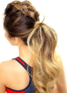 200 idéias de penteados para inspirar: trança + rabo de cavalo