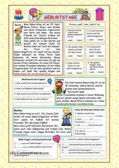 Birthdays (KEY included) - English ESL Worksheets for distance learning and physical classrooms Comprehension Exercises, Reading Comprehension, English Classroom, Classroom Language, German Resources, Some Sentences, Classroom Birthday, German Grammar, Reading Practice