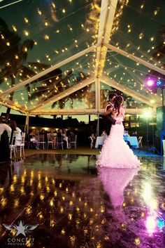 Market lighting and clear tents.