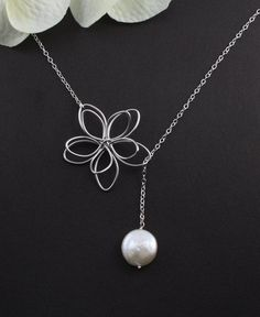 "Sterling Silver Jewelry - ""Garden Moon"" Flower & Coin Pearl Necklace - bridal jewelry, birthday, anniversary, mother, best friend gift. $28.50, via Etsy."