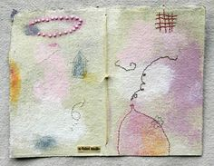 Whimsical Pastel Mixed Media Drawing with Beads - Page From The Book of Gestures  by Patti Roberts-Pizzuto / missouri bend studio    handmade paper, waxed linen thread, embroidery thread, pencil, water soluble caryons, beads, acrylic paint, text fragment http://www.etsy.com/shop/missouribendstudio http://www.robertspizzuto.com