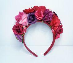 Diy Flower Crown, Flower Crown Headband, Diy Headband, Floral Crown, Diy Halloween Headbands, Mexican Flowers, White Rose Flower, Floral Headdress, Kanzashi