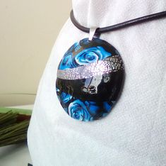 Blue rose necklace, Black necklace Polymer Clay Pendant, Handmade Polymer Clay, Polymer Clay Jewelry, Rose Necklace, Black Necklace, Romantic Girl, Collage Techniques, Precious Metal Clay, Sterling Silver Jewelry