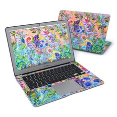 """DecalGirl Apple MacBook Air 13"""" skins feature vibrant full-color artwork that helps protect the Apple MacBook Air 13"""" from minor scratches and abuse without adding any bulk or interfering with the device's operation.   This skin features the artwork Fantasy Garden by Juleez - just one of hundreds of designs by dozens of talented artists from around the world. Skin Macbook Pro, Newest Macbook Pro, Macbook Pro 13 Inch, New Macbook, Apple Macbook Pro, Macbook Pro Retina, Macbook Air 13, Laptop Skin, Fantasy Garden"""