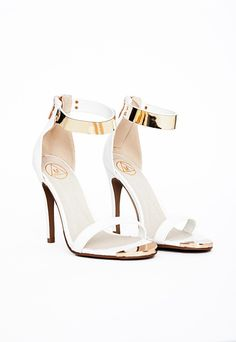 Kim Gold Plate Ankle Strap Heeled Sandals White - Shoes - High Heels - Missguided