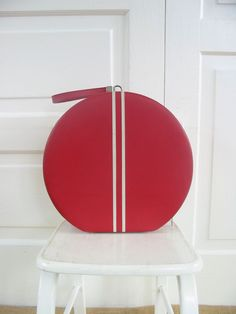 Vintage Hat Box Red Suitcase Round Case Luggage Retro Striped by vintagejane on Etsy