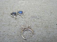 Silver Crescent Moon Labradorite Necklace