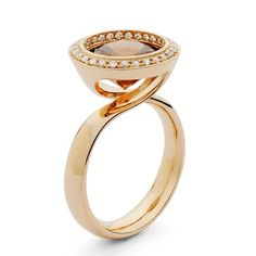 Andrew Geoghegan Reflect ring, pictured with Cinnamon Zircon, other stones available
