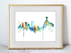 This is a print from my original watercolor painting of the Rio de Janeiro…