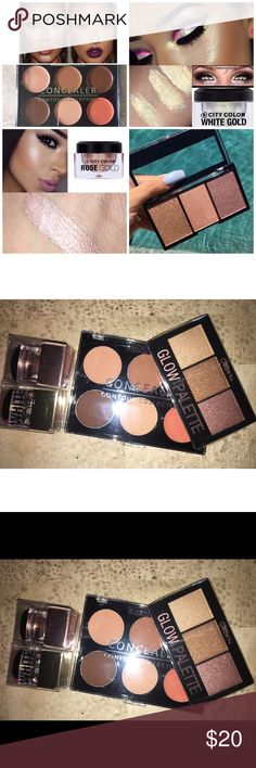 4pc Makeup Highlight Concealer Contour Lot New!    Makeup lot includes :  Beauty Creation 3 Shade Highlighter palette  Rose gold cream multi use highlighter  White Gold cream multi use highlighter  6 shade cream contour concealer palette  Bundle to save 💵 💕  IG: ShopBellaVictoria FB: BellaVictoria city color Makeup Luminizer