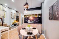 Amenajare tinereasca pentru un studio de 30 metri patrati- Inspiratie in amenajarea casei - www. Un Studio, Minimalism, Conference Room, Interior, Kitchen, Table, Furniture, Design, Home Decor
