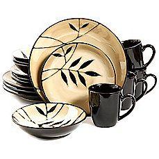 image of Gibson Elite Midnight Palm 16-Piece Dinnerware Set