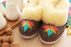SHEEPSKIN slippers, SHEEP wool fur, LEATHER warm moccasins for men women, natural winter boots,hand made footwear, Christmas gift for women