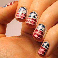 Distressed American Flag Nail Art