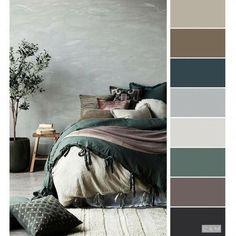 Bedroom Inspo Grey, Bedroom Green, Bedroom Neutral, Grey Green Bedrooms, Warm Bedroom Colors, Bedroom Colour Palette, Grey Palette, Gray Bedroom Color Schemes, Palette Wall