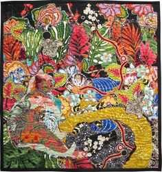 Cat Nap: Secret Garden, Art Textile