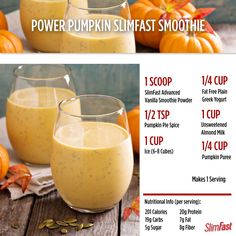 Happy First Day of Fall! Time to break out the pumpkins! Try this Power Pumpkin Smoothie recipe. Pumpkin Smoothie, Apple Smoothies, Homemade Smoothies, Vegetable Smoothies, Low Carb Smoothies, Yogurt Smoothies, Slim Fast Shakes, Slimfast Recipes, Slimfast Diet Plan