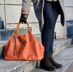 Schultertaschen - Riesige PETRA Ledertasche, Kupfer - ein Designerstück von BAGS4JOY bei DaWanda