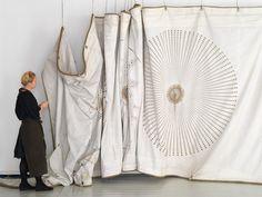 amazing fiber art, hand stitching on old ships' sails - grethe wittrock