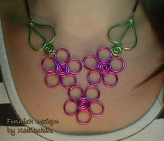 For Summer  Aluminum Wire FLOWER Field Necklace with by Kedikekik