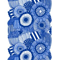 Marimekko fabrics - Buy online from Finnish Design Shop. Discover Unikko and other Marimekko fabrics for a modern home! Textures Patterns, Fabric Patterns, Color Patterns, Print Patterns, Marimekko Wallpaper, Marimekko Fabric, Stencil, Blue Fabric, Cotton Fabric