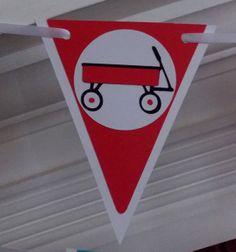 Little Red Wagon Happy Birthday  Banner ... by APaperPlayground, $23.50