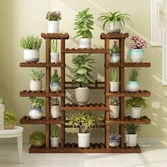 Cheap DIY Plant Stand Concepts – Home to Z - Tours. Wooden Plant Stands, Diy Plant Stand, Diy Wooden Projects, Wooden Diy, House Plants Decor, Plant Decor, Small Balcony Garden, Flower Stands, Plant Shelves