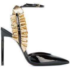 Saint Laurent Saint Laurent Edie Ruffle Strap Sandals (6,860 CNY) ❤ liked on Polyvore featuring shoes, sandals, black, ankle wrap sandals, black strappy sandals, stiletto sandals, black shoes and black stilettos