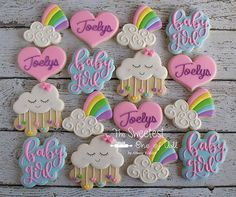 Baby Joelys will be showered with Love! Congratulations to the Mommy, Daddy and Family to be! Baby Cookies, Baby Shower Cookies, Cute Cookies, Easter Cookies, Sugar Cookies, Happy Birthday Angel, Unicorn Birthday Parties, Birthday Ideas, Rainbow Theme Baby Shower