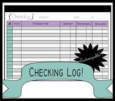 New Sizes!!! Checking Log! Check Register! Printable Planning Page! A5 for Filofax and Half Page! Instant PDF Download!