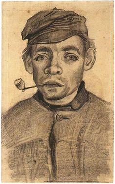 Vincent van Gogh - Cabeza de un muchacho con una pipa, 1885