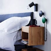 DIY Floating Nightstand Ideas For Space Saving 15 Cube Mural, Striped Ceiling, Home Bedroom, Bedroom Decor, Bedroom Ideas, Bedrooms, Night Table, Floating Nightstand, Small Bedrooms